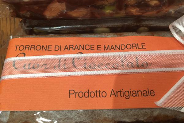 Torrone di Cioccolato, Arance e Mandorle